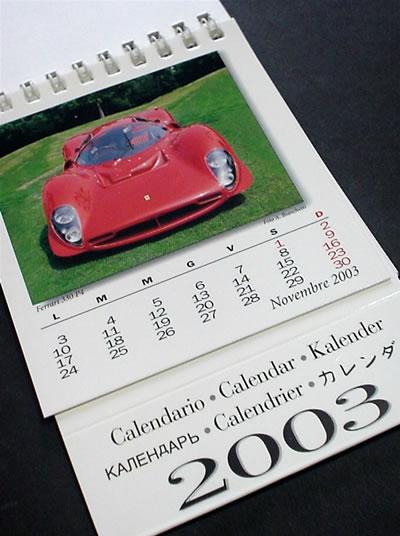 イタリアで購入したフェラーリ2003年卓上カレンダー