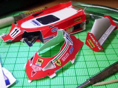 フェラーリ312T2。リアウイング作りました。そしてアッパーカウルも作りました。