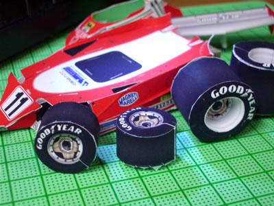 フェラーリ312T2。ジル・ビルニューブ車。タイヤ、タッチアップ前