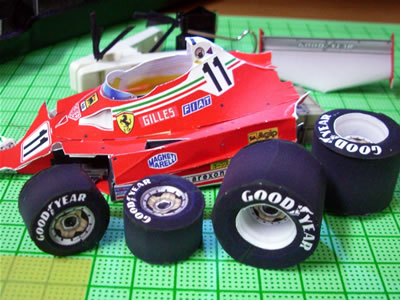 フェラーリ312T2。ジル・ビルニューブ車。タイヤ、タッチアップ後