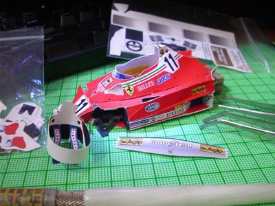 フェラーリ312T2のペーパークラフトの報告の第5弾でございます。