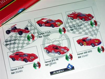 これはカードの裏面。ソリドの缶箱シリーズフェラーリミニカーのラインナップのようです。
